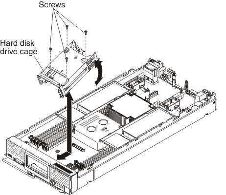 removing the hard disk drive cage ibm flex system x240 pute HDD Anatomy graphic illustrating installing a hard disk drive cage